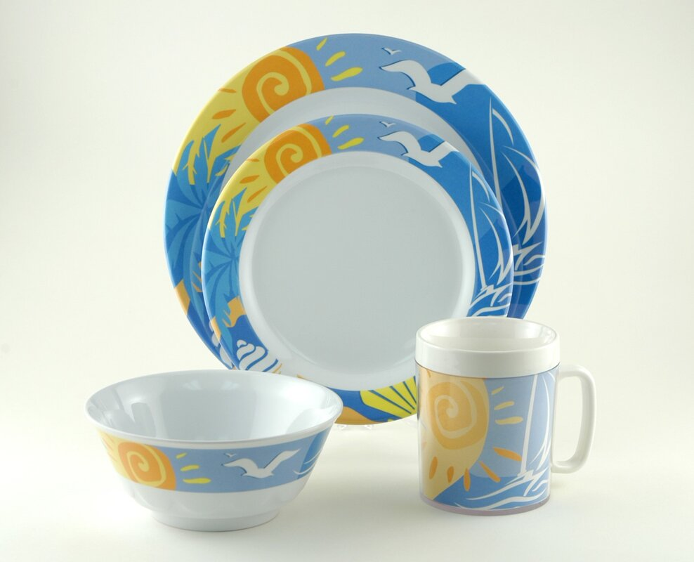 Decorated Ocean Breeze Melamine 24 Piece Dinnerware Set Service for 6 & Galleyware Company Decorated Ocean Breeze Melamine 24 Piece ...