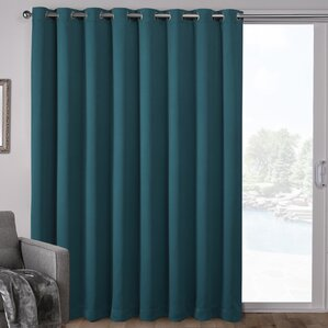 High Quality Campanella Sateen Blackout Solid Grommet Top Wide Patio Curtain Panel