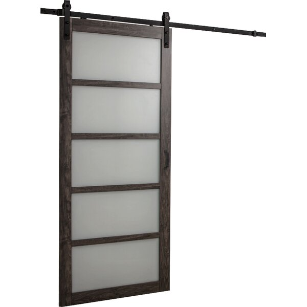 modern contemporary frosted glass barn door allmodern - Frosted Glass Barn Door