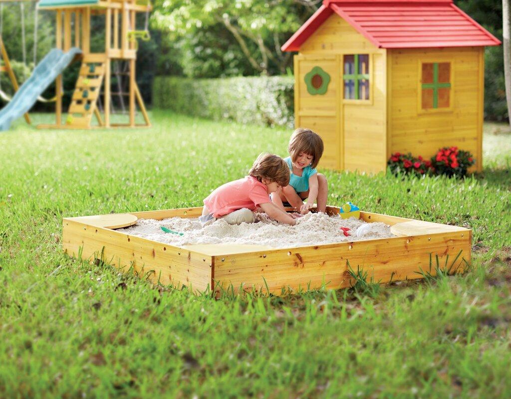 Bon Backyard 5u0027 Square Sandbox With Cover
