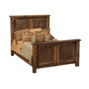 Barnwood Copper Inset Panel Bed by Fir..