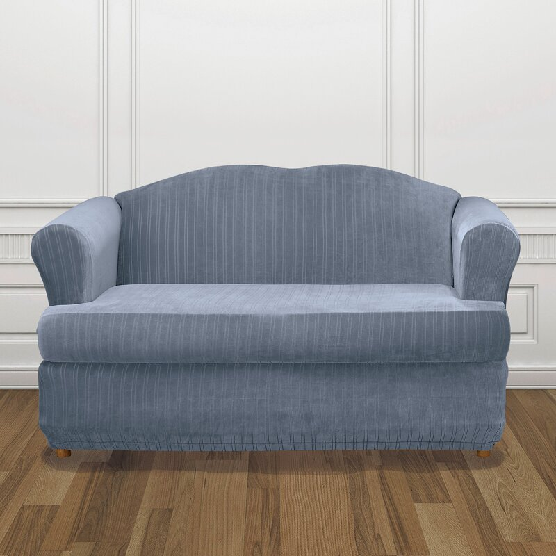 Stretch Pinstripe T Cushion Sofa Slipcover