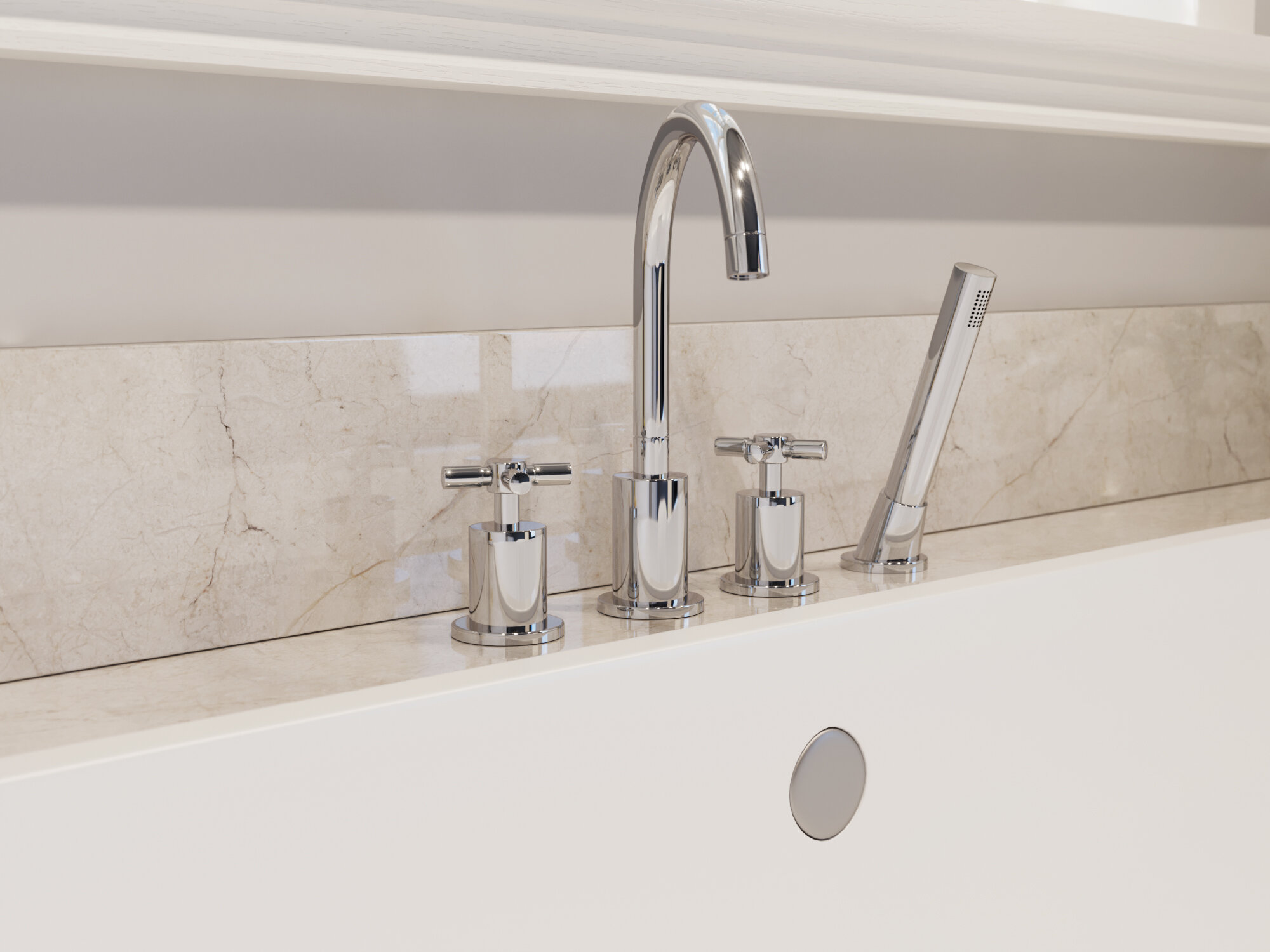 Ancona Prima Double Handle Deck Mount Roman Tub Faucet With Shower