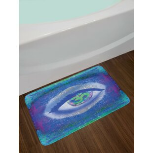 Mystical Blue Mint Green Purple Eye Bath Rug