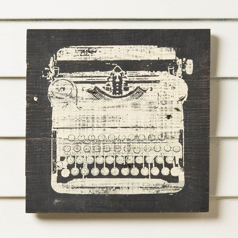 typewriter reclaimed wood wall art