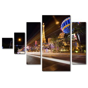 Las Vegas Blvd. By Masters Fine Art 5 Piece Photographic Print On Wrapped  Canvas Set