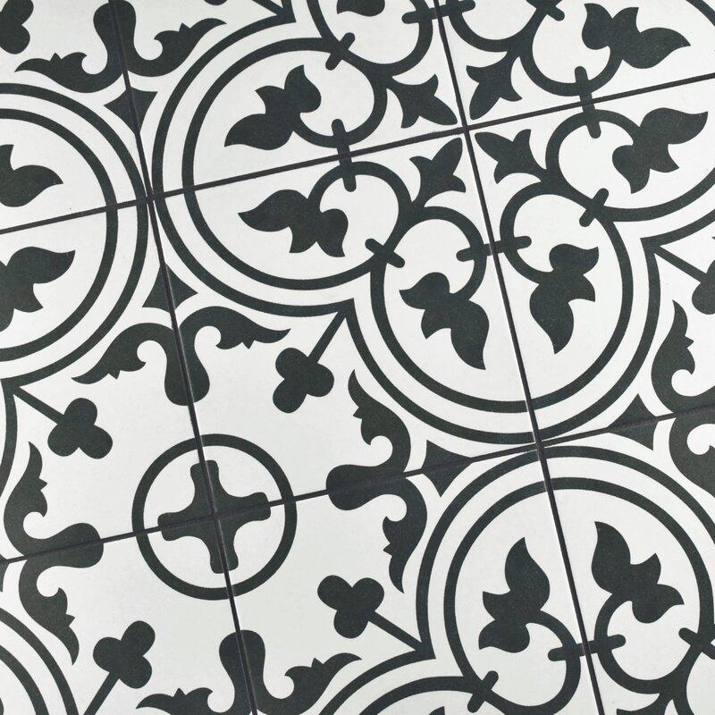 Elitetile Artea 975 X 975 Porcelain Field Tile In Blackwhite