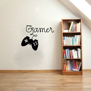 Hobbes Gamer Video Game Controller Silhouette Vinyl Graphic Word Wall Decal
