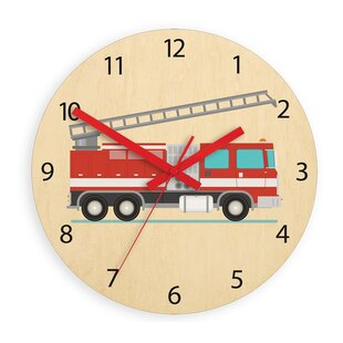 Bertie Fire Truck 33cm Analogue Wall Clock by Viv   Rae