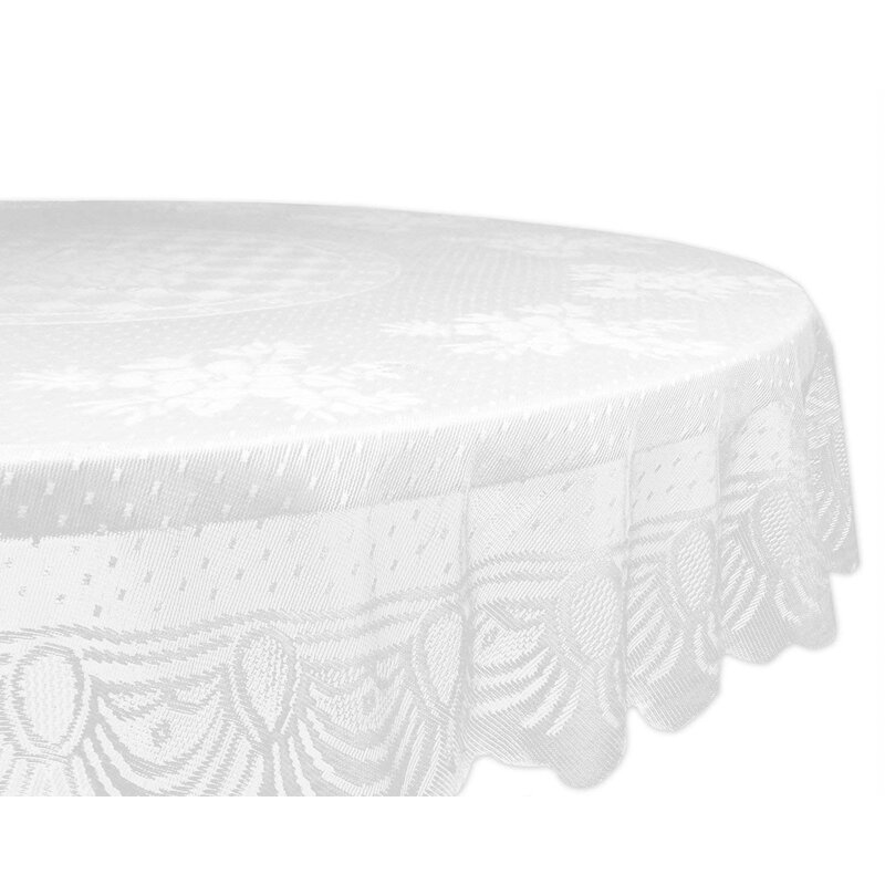 Lace Floral Poly Round Tablecloth