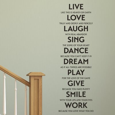 Belvedere Designs LLC Live Love Laugh Sing Etc. Wall Quotes™ Decal