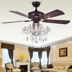 Chandelier ceiling fan combo wayfair 52 ridgway 5 blade ceiling fan mozeypictures Images