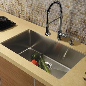 VIGO 30 inch Undermount Single Bowl 16 Gauge Stainless Steel Kitchen Sink with Edison Chrome Faucet, Grid, Strainer and So...