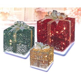 3 piece glittery gift box lighted christmas yard art set
