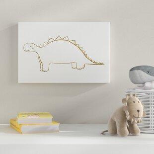 Line Stegosaurus' Drawing Print on Canvas by HoneyBee Nursery