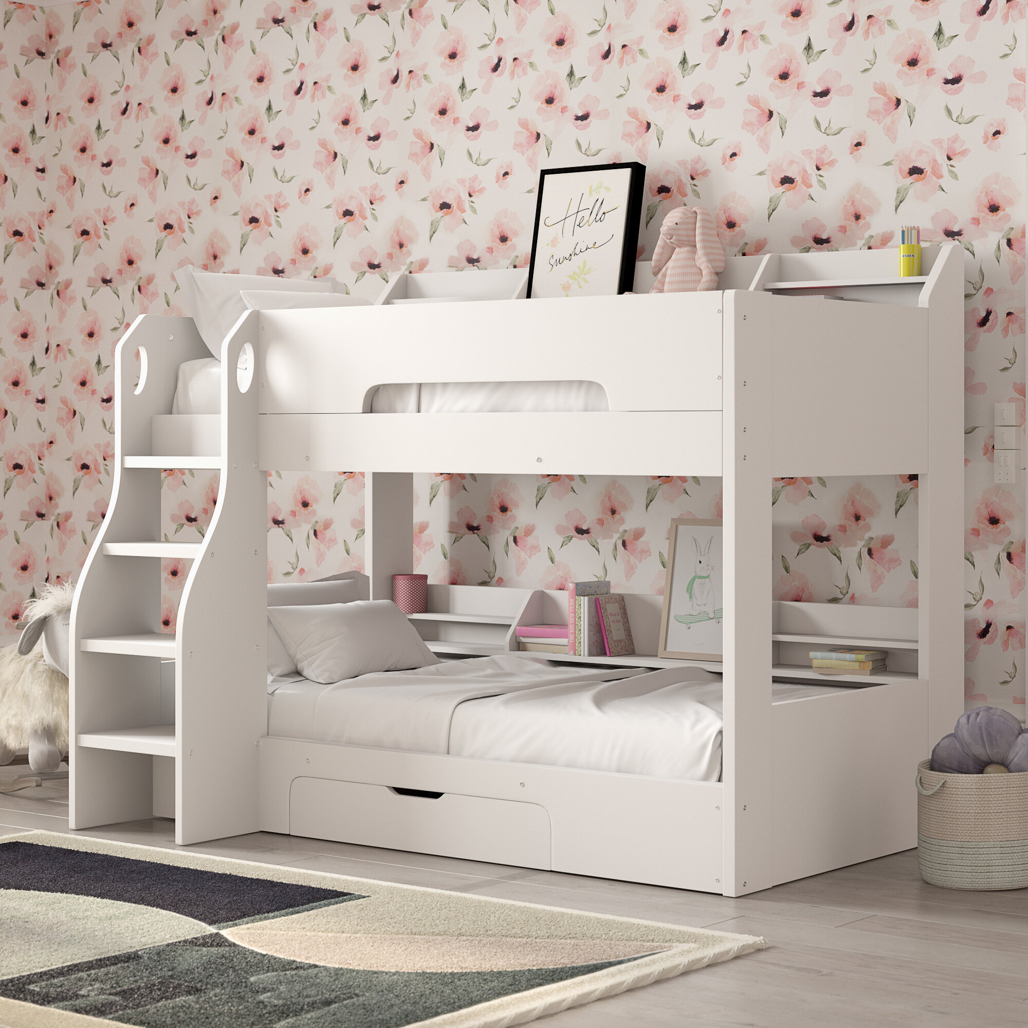 Harriet Bee Rebecca Bunk Bed With Drawer And Shelves Reviews
