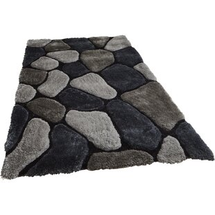 Pedro Hand-Tufted Grey/Cobalt Area Rug by Wade Logan