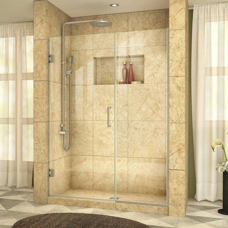 Dreamline Unidoor Plus 575 X 72 Hinged Frameless Shower Door With