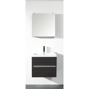 Belfry Bathroom 60 cm Wandmontierter Waschtisch Ceramic Line mit Spiegel und Aufbewahrungsschrank