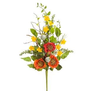 Faux poppies wayfair poppy bush floral arrangement set of 6 mightylinksfo