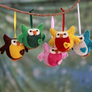Heartfelt Wool Felt Owl Ornament (Set of 5)