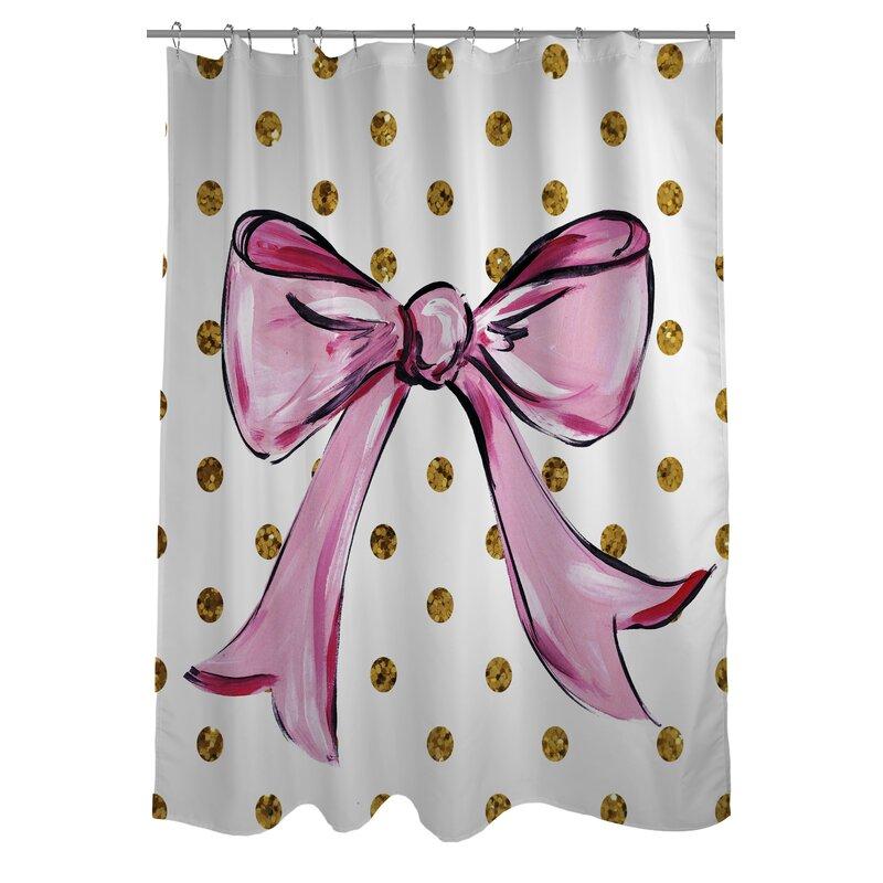 One Bella Casa Bow Dots Shower Curtain | Wayfair