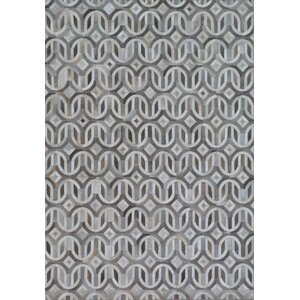 Natural Hide, Leather, Ivory/Silver/Multi (8'x11') Area Rug