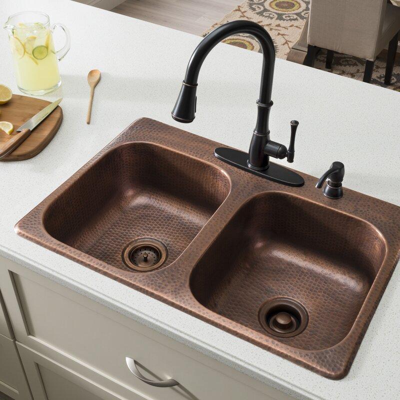 """Sinkology Raphael 33"""" X 22"""" Double Bowl Drop-In Kitchen"""