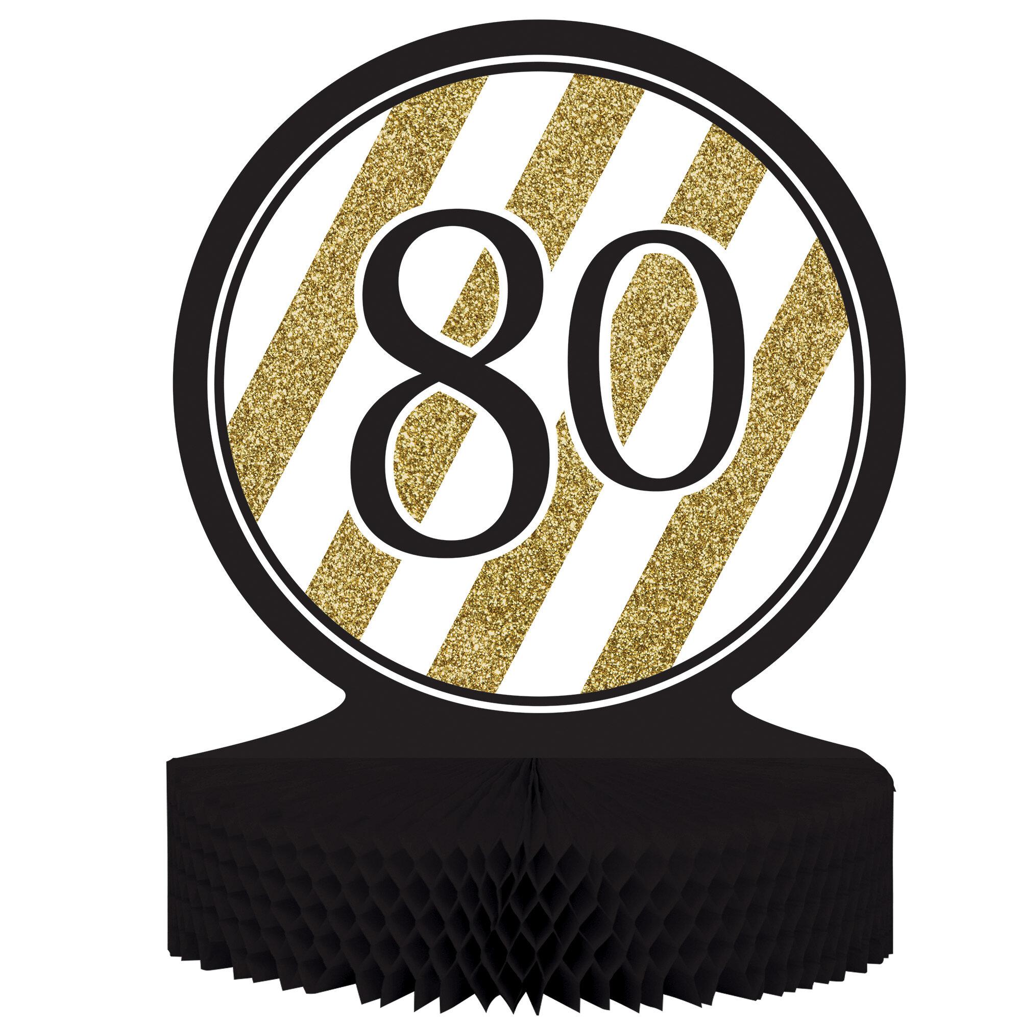 Creative Converting Black And Gold 80th Birthday Centerpiece Wayfair