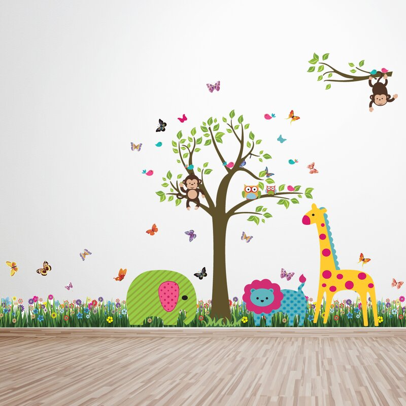 Harriet Bee Shelly Bay Grass Animal Tree Wall Decal Reviews - Wall decals grass