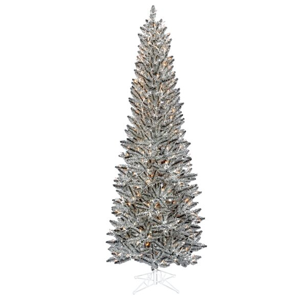 Vickerman 7.5u0027 Silver Pewter Artificial Tinsel Pencil Christmas Tree With  Clear Lights U0026 Reviews | Wayfair