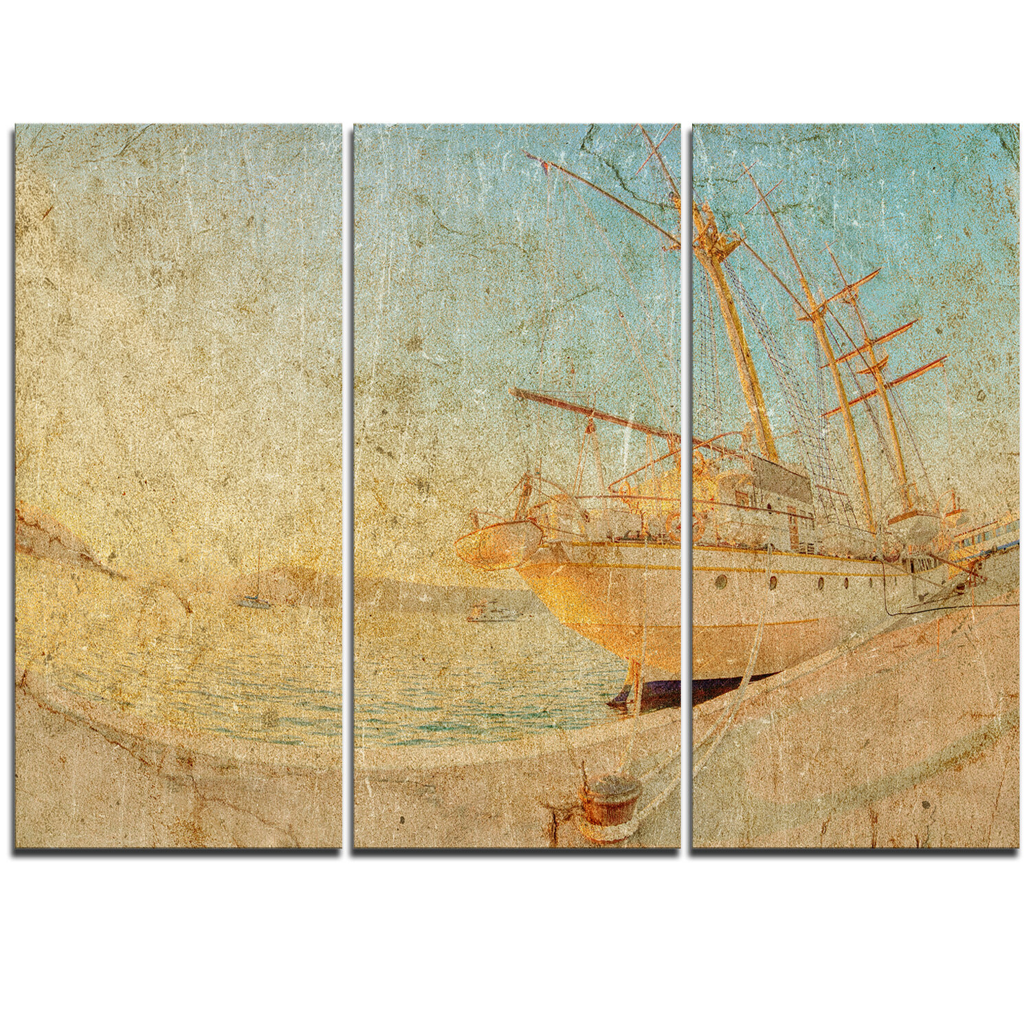 DesignArt Old Sailing Ship in Sunlight - 3 Piece Graphic Art on ...