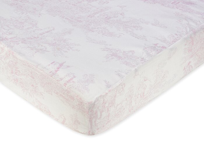French Toile Fitted Crib Sheet