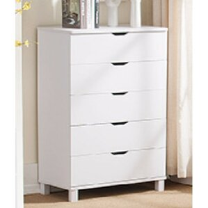 Clark Commodious Glossy 5 Drawer Chest by Ivy Bronx