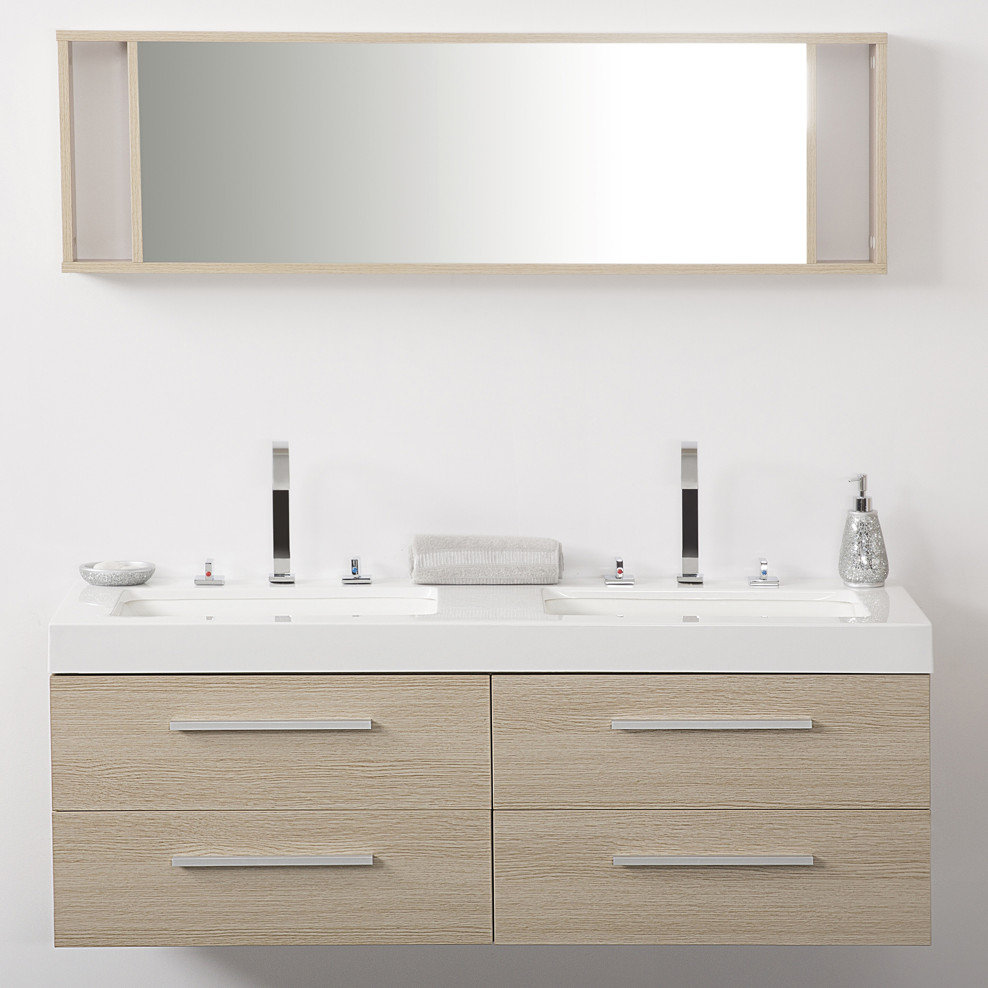 Caracella 140cm Wall Mounted Double Sink Vanity Unit Wayfair Co Uk