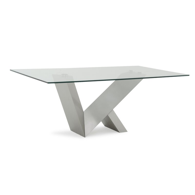 Carberry Glass/Stainless Steel Dining Table