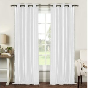 Ogden Pom Pom Faux Silk Solid Room Darkening Grommet Curtain Panels (Set of 2)