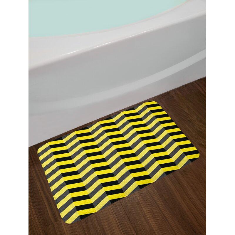 East Urban Home Black Black Yellow Yellow Chevron Bath Rug Wayfair