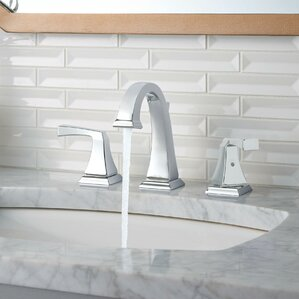 dryden deck mounted double handle bathroom faucet with drain assembly and diamond seal technology