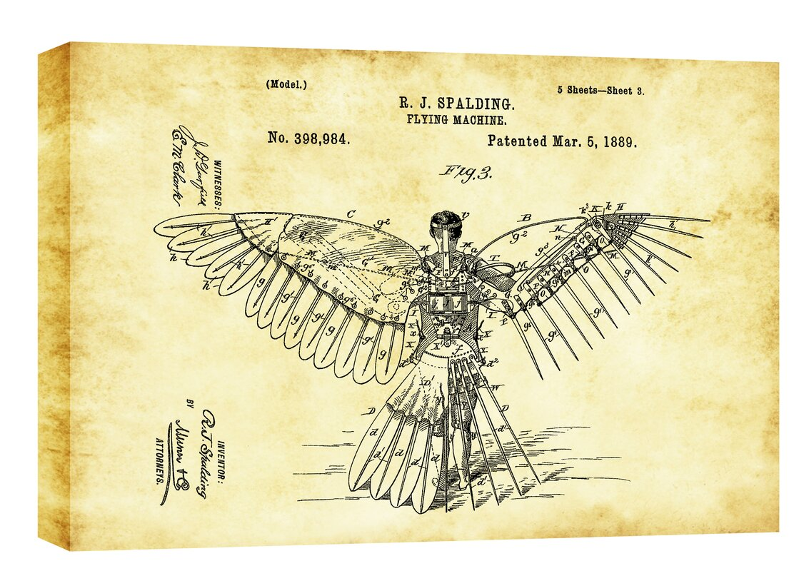Charming blueprint wall art ideas the wall art decorations cortesi home flying machine vintage patent blueprint graphic art malvernweather Gallery