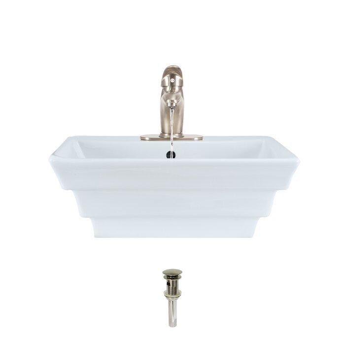 Lavabo de salle de bain rectangulaire en porcelaine vitreuse avec robinet  et trop-plein