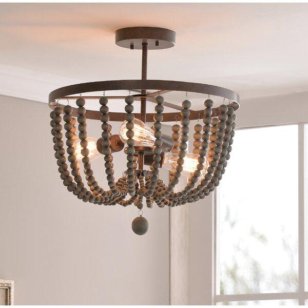 bay isle home tilden wood bead 3 light semi flush mount reviews