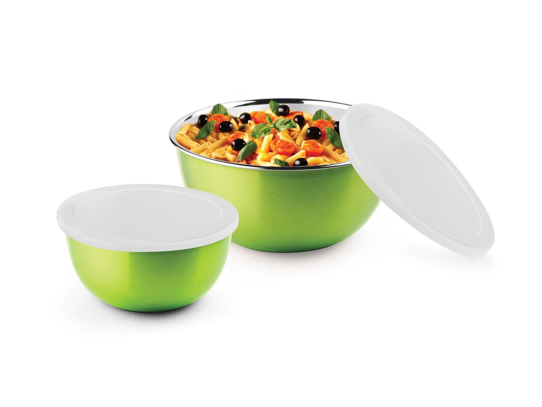 micro wonder 4 piece microwave safe stainless steel bowl set