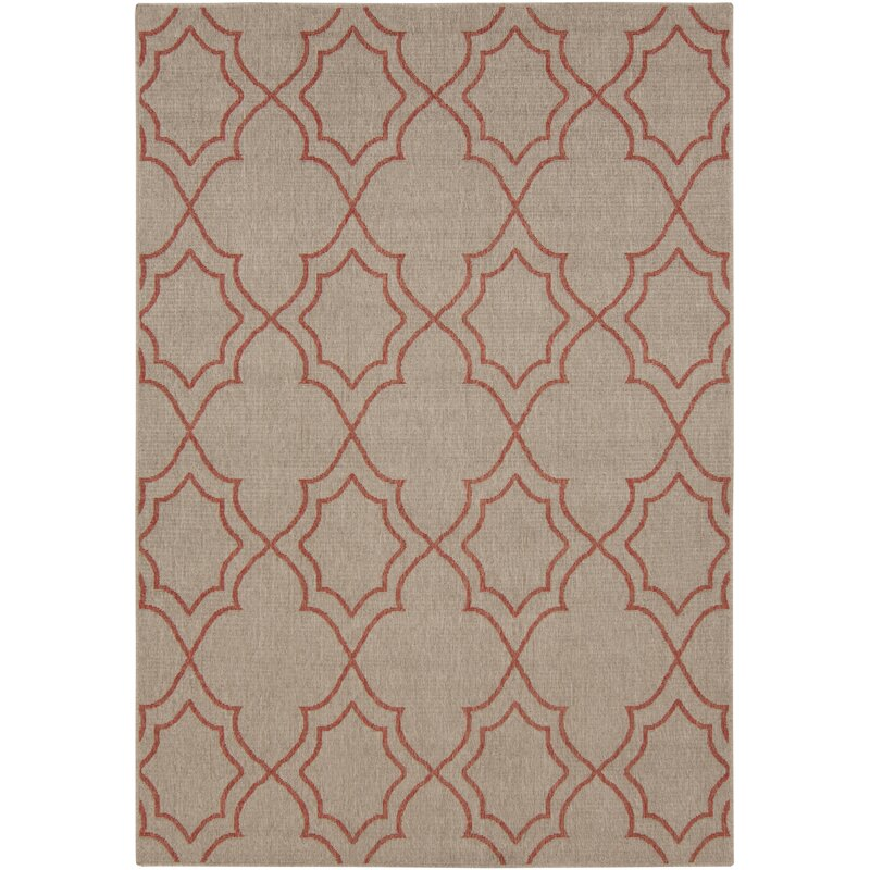 Alcott Hill Amato Taupe/Cherry Indoor/Outdoor Area Rug, Size: Rectangle 6 x 9