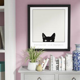 3e5032c7e66 Curiosity Black Cat  Framed Graphic Art on Canvas Print on Canvas Poster