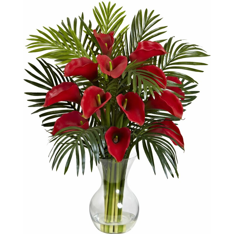 Nearly Natural Calla Lily And Areca Palm Silk Flower Arrangement