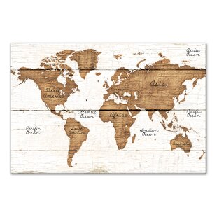 Rustic world map wall art youll love wayfair distressed world map graphic art print on canvas by union rustic gumiabroncs Image collections