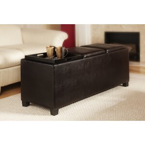 Marla Leather Storage Ottoman in Espresso