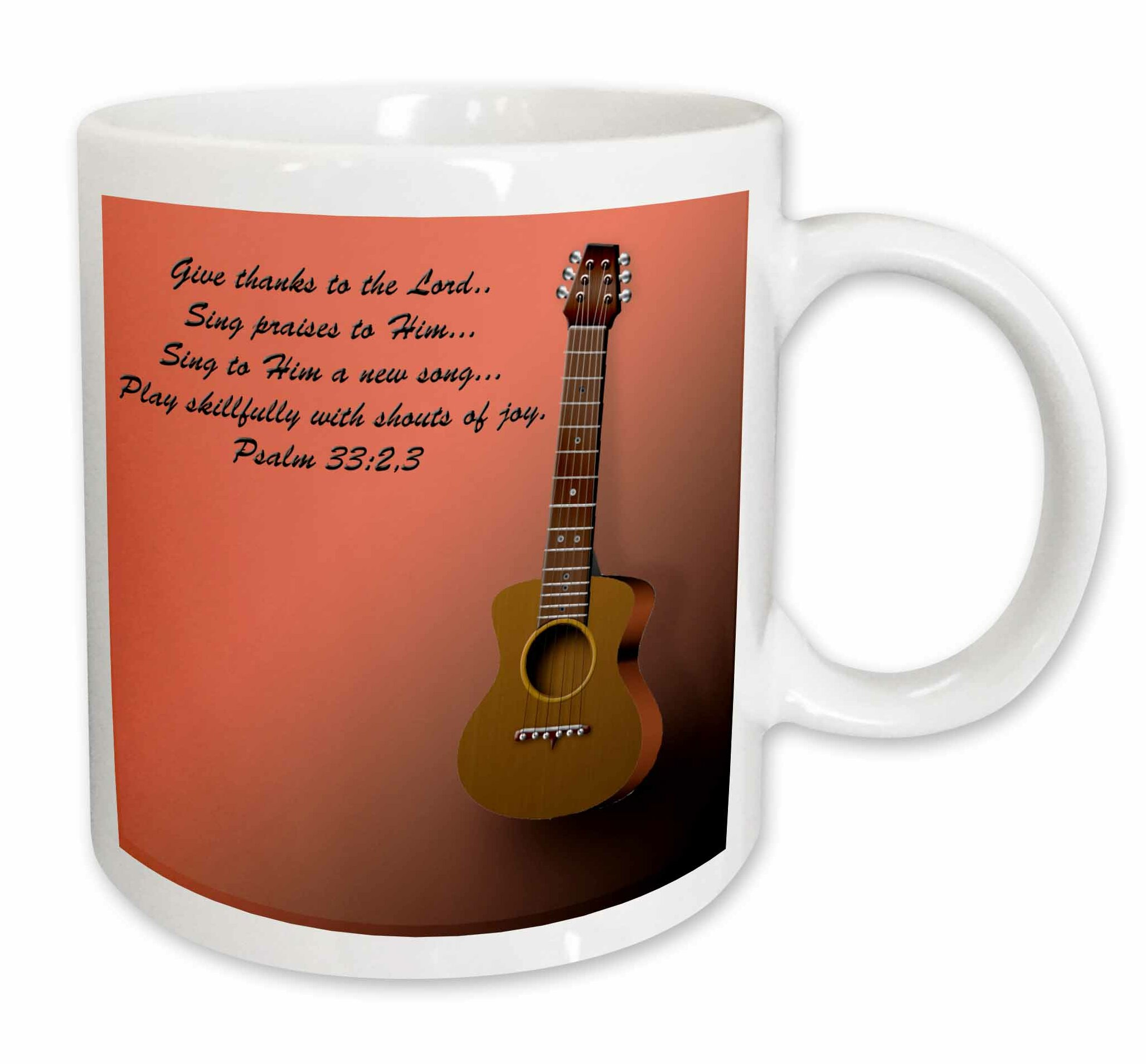 Classic Guitar and Bible Verse Sing To the Lord a New Song Coffee Mug