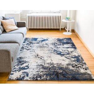 Luxury Vintage Look Blue/Beige Area Rug